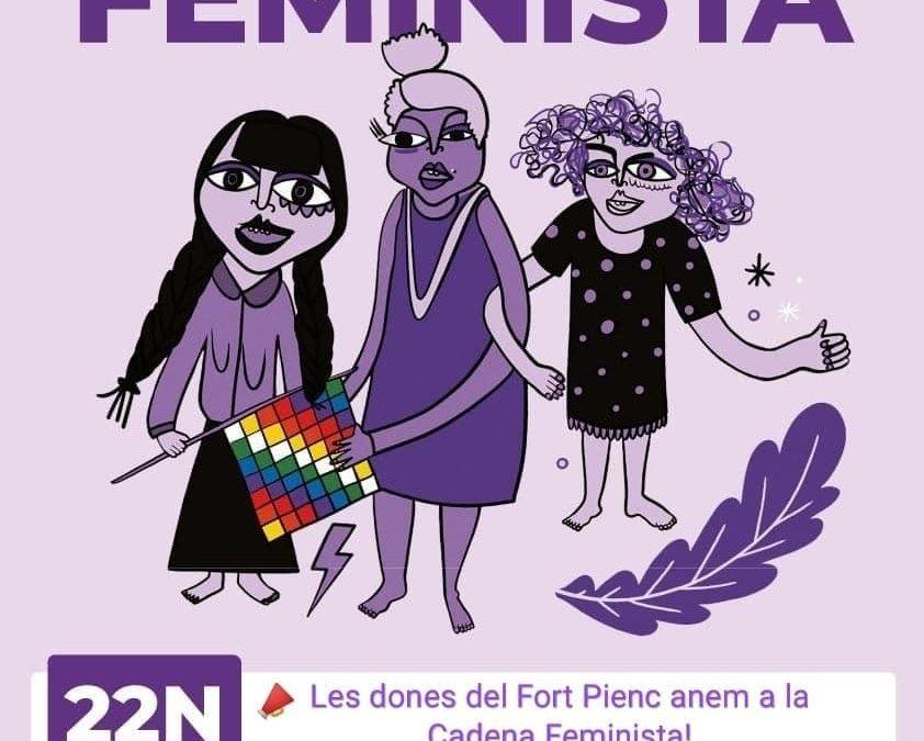 Les dones de Fort Pienc cap a la Cadena Feminista
